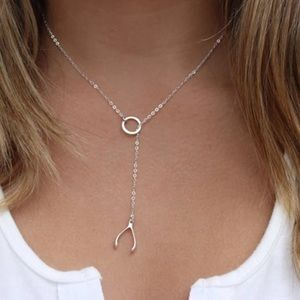 ✨✨925 Sterling Silver Whishbone Lariat Necklace✨✨